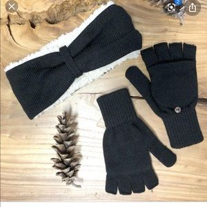 Bear Paw winter headband and pop top mittens